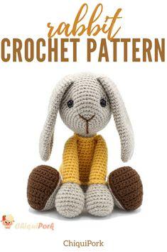 Adorable bunny rabbit crochet pattern! Instant download. #amigurumi #crochettoys #crochetrabbit #crochetbunny #rabbittoy #affiliate