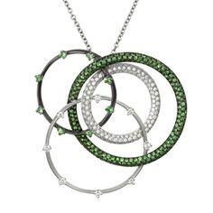 Salavetti 18K White Gold, Tsavorite & Diamond Interlocking Necklace (=)