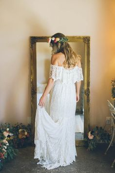Bohemian lace off-the-shoulder wedding dress | Image by Morgan Ashley Photography