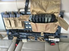 Grey Man Tactical's patented RMP SERIES [Rigid MOLLE Panel] is a weather resistant organizational platform engineered to equip your vehicle, backpack, case and safe with quick access to critical gear. Ammo Storage, Weapon Storage, Bug Out Gear, Bug Out Vehicle, Tactical Truck, Tactical Gear, Tactical Firearms, Tac Gear, Military Gear