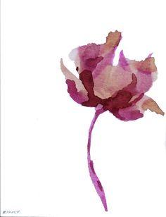 Small Tulip | Cristina Ripper (SimpleArtStudio) via Etsy: ink, pencil, acrylic, watercolor, acid-free paper