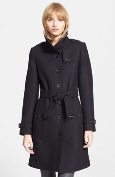 Burberry Brit 'Rushfield' Wool Blend Stand Collar Coat