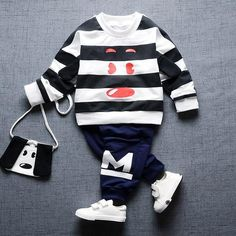 Striped Dog Face Design Sweatshirt / Sweatpants Set For Kids