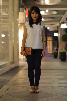 white top, black denim, tan oxford