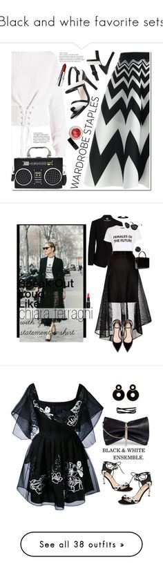 """""""Black and white favorite sets"""" by deborah-518 ❤ liked on Polyvore featuring By Terry, WardrobeStaples, Vince Camuto, Topshop, Coast, Miu Miu, Dolce&Gabbana, Smashbox, StreetStyle and Tshirt"""