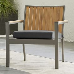 """Shop Alfresco Natural Lounge Chair with Sunbrella ® 3"""" Cushion.   Polystyrene slats are tinted a warm, natural shade, crafted to resemble faux wood and treated to resist fading.  Sturdy but lightweight aluminum frame has a silver powdercoat finish."""