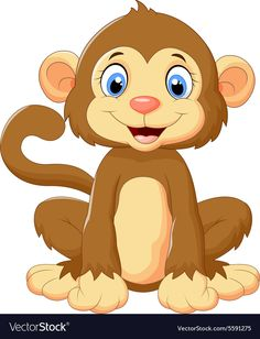 Cartoon cute monkey sitting vector image on VectorStock Cartoon Cartoon, Cute Cartoon Drawings, Cute Cartoon Animals, Baby Animals, Cute Animals, Cartoon Characters, Safari Theme, Jungle Theme, Baby Animal Drawings