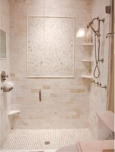 lovely mix of tile in this master shower: Urban Grace Interiors Shower Corner Shelf, Shower Shelves, Bathroom Kids, Small Bathroom, Bathroom Showers, Bath Shower, Master Shower Tile, Sauna Shower, Shower Tiles