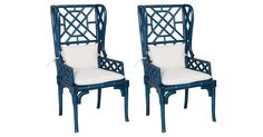 With a winged seat back, intricate fretwork, and bowed apron, these Chinese Chippendale-inspired mahogany armchairs showcase remarkable craftsmanship. Topped with crisp white muslin seat cushions.