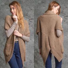 Short sleeve cardigan with pocket Short sleeve cardigan with pocket - camel color Sweaters Cardigans
