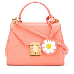 Mark Cross - daisy tag padlock bag - women - Leather - One Size ($1,871) ❤ liked on Polyvore featuring bags, genuine leather handbags, floral leather handbags, leather handbags, floral print purse and red handbags