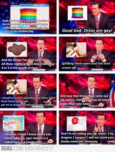 Colbert on Rainbow Oreos