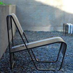 LAMI Lounge Chair in Black/White Stripes, Lifestyle