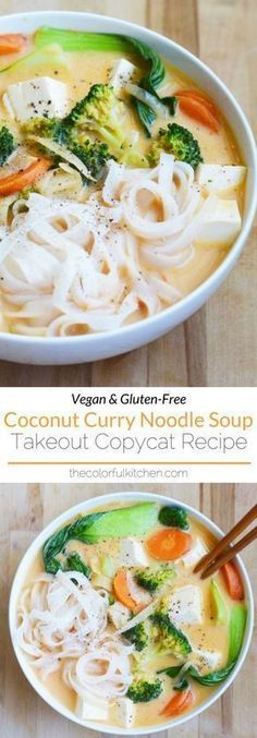 Curry Noodle Soup -- A vegan, healthy and gluten-free copy of my favorite Thai takeout.Coconut Curry Noodle Soup -- A vegan, healthy and gluten-free copy of my favorite Thai takeout. Vegan Soups, Vegan Dishes, Vegan Ramen, Whole Food Recipes, Cooking Recipes, Healthy Recipes, Free Recipes, Thai Vegetarian Recipes, Veggie Soup Recipes