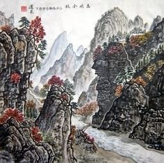 Chinese Mountain and Water Painting,40cm x 40cm,1074002-x