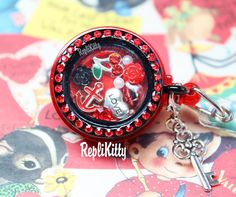 Unique Valentine's Day Badge Locket Charm Set for Floating Lockets by RepliKitty www.replikitty.etsy.com #vampire #cherries #cherry #anchor #nautical #fangs #roses #love #heart #blacklocket #badgelocket #floatingcharms #locketcharms #lockets #pearls #crystals #key #bling