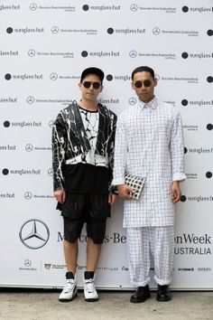 c91349270b5 New Zealand Four Eyes bring their edgy Kiwi style to MBFWA. (L) Danny  Simmons wearing sunglasses from Giorgio Armani   (R) Chin Tay in Persol  sunglasses