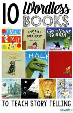 10 wordless books that will help you teach story telling. Activities and resources to strengthen sequential story telling. Before students can write a story, they must be able to tell a story. Kindergarten Reading, Reading Activities, Teaching Reading, Teaching Ideas, Reading Lists, Literacy Activities, Homeschool Kindergarten, Guided Reading, Teaching Resources