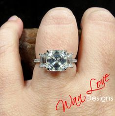 Moissanite Asscher Baguette 3 stone Engagement Ring, White Gold, Custom, Anniversary Gift, Ready to Ship Pink Sapphire Ring, Pink Ring, 3 Stone Engagement Rings, Halo Engagement, Celebrity Rings, Moissanite Earrings, Alexandrite Ring, Romantic Proposal, Baguette