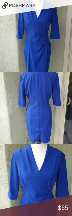 Tahari ASL royal blue dress Beautiful royal blue dress. Lined, has zipper and clasp at back. Kick pleat slit in back. Worn once or twice. Mint condition. Smoke free/pet free home. No trades. I only deal through Poshmark. Tahari Woman Dresses