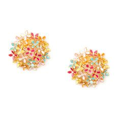 Multi-Colored Enamel Flower Filigree Large Button Stud Earrings