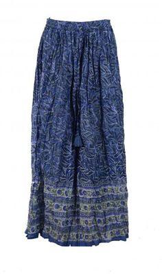 Maxi nederdel i a-facon. I håndprintet bomuld. Block print fra Indien