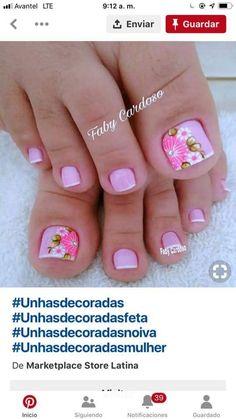 New Nail Art Design, Cute Nail Art Designs, Toe Nail Designs, Toe Nails, Coffin Nails, Cute Pedicures, Mani Pedi, Nail Inspo, Pretty Nails