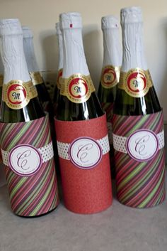 "Cuten up a bottle of sparkling cider for an easy and great neighbor gift.  ""We love your sparkling/bubbly personality""....."