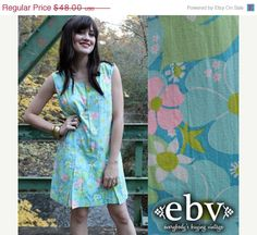 ON SALE #Vintage #60s #Mod #Hippie #Floral Pleated Mini Scooter #Dress S M by shopEBV, $38.40
