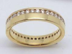 A New Yellow Gold Channel Set Full Ddiamond Wedding Ring Width Diamond Weight Size L. Wedding Rings For Women, Bangles, Bracelets, Diamond Wedding Rings, Gold Rings, Channel, Rose Gold, Jewels, Detail