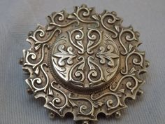 Antique-Weighty-Victorian-Solid-Silver-Embellished-Brooch-Circa-1890s-6-4g