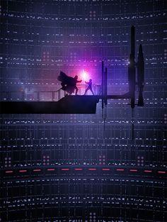 Carteles formados colores y siluetas de algunos de los personajes más simbólicos de la saga de películas de Star Wars.