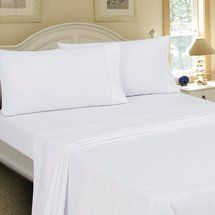 Walmart: Mainstays Cotton/Polyester Percale Flat Sheet - King (1 for dust ruffle, 4 for curtains)