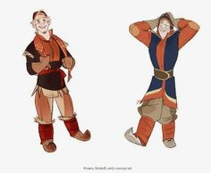 Two versions of kristoff made by a character designer in Disney.