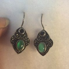 Sterling, Green & Black Onyx, & Marcasite Earrings Unusually shaped pierced earrings with latching ear wire- looks like antique Art Deco style.  Lovely combination of gemstones!  Lightweight, comfortable to wear, and secure closure to prevent loss.  New without tags. Unlisted Jewelry Earrings