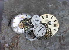 Gold and Bronze Steampunk Victorian Brooch with Vintage Watch Dials, Antique Watch Parts and Filigree Metal Decorations