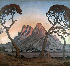 Jacobus Hendrik Pierneef - painted landscape to the virtual exclusion of everything else. He developed a very distinctive style: Title: may be called Okahandja (this is so similar to linocut with that name). Landscape Art, Landscape Paintings, African Paintings, South African Artists, Africa Travel, Art Images, Illustration Art, Illustrations, Trees