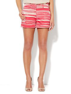 7th Avenue Cuffed Short - Stripe Print - New York & Company