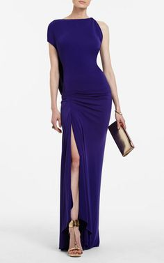 2014 Fran Royal Asymmetrical BCBG Ruched Long Formal Evening Gown