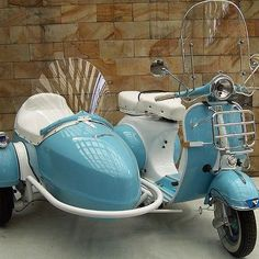 Cool blue & white scooter with side-ride