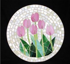 Pink Tulips mosaic by Pauline Gallagher
