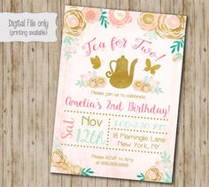 Tea for two Birthday Invitation // Floral Birthday Invite // Girl Birthday Invite // Tea party Birthday // Watercolor Floral by SweetBeeDesignShoppe on Etsy https://www.etsy.com/listing/471605596/tea-for-two-birthday-invitation-floral