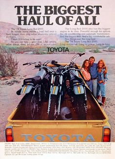 Old Toyota Truck Ads - Chin on the Tank – Motorcycle stuff in Philadelphia. Toyota Hilux, Toyota Autos, Toyota 4x4, Toyota Trucks, Toyota Cars, Retro Ads, Vintage Advertisements, Vintage Ads, Bicicletas Raleigh