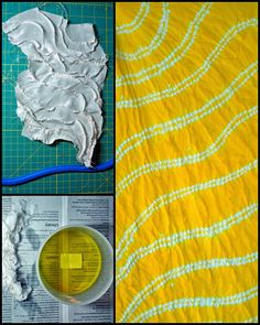 ...And Then We Set It On Fire: Week 3 Parallel Lines with a few variations, Dye It. looks like ori nui shibori with yellow dye