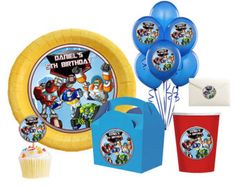 DIY Printable Rescue Bots Birthday Party Balloon, Toppers, Circle stickers, kisses