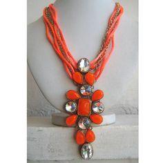 Orange Necklace/Neon Orange Necklace/Crystal by FootSoles on Etsy, $35.50