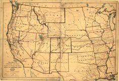 Carte des États–Unis montrant les principales routes postales à l'ouest du Mississippi — Afficheur — Bibliothèque numérique mondiale