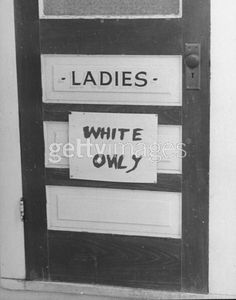 Hand-printed WHITE ONLY sign tacked on ladies room door in a public bldg, Photo: by Alfred Eisenstaedt / Pix Inc. / Time Life Pictures / Getty Images Date created: 01 Jan 1937 History Major, Jim Crow, Civil Rights Movement, Room Doors, Photo Story, Life Pictures, Black History Month, African American History, Creative Photography
