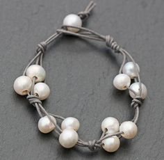 Freshwater Pearl & Waxed Cotton Cord Wrap Bracelet
