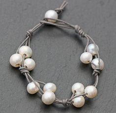 Freshwater Pearl & Waxed Cotton Cord Wrap Bracelet